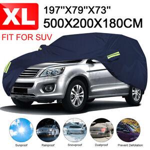210T SUV Full Car Cover Waterproof Outdoor Scratch Sun Rain Dust Resistant XL