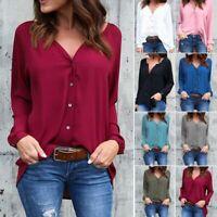 Long Chiffon Shirt Tops Loose Fashion Blouse Summer Sleeve Casual T-Shirt Womens