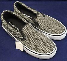 Airwalk Men's Shoes Tailor Slip-On Herringbone Grey Non-Marking SIZE 6