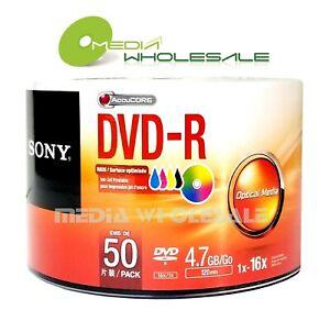 50 SONY Blank 16X DVD-R DVDR Logo Branded 4.7GB Media Disc