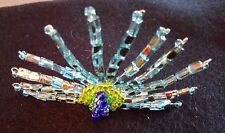 glass bead stylised peacock broach, can also be worn as a hair slide