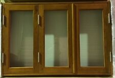BIFOLD FRENCH WINDOWS, SOLID CEDAR TIMBER, 1500W X 1000H WITH PLEATED FLY SCREEN