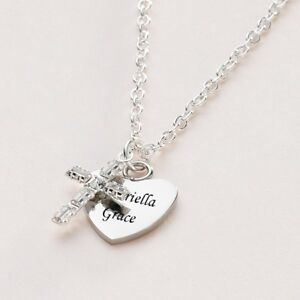 Personalised Necklace with Heart and Cross, Girls or Women, Christening Baptism