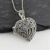 Marcasite Heart Locket Necklace - 925 Sterling Silver - Openwork Design Gift NEW