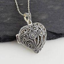 Marcasite Heart Locket Necklace - 925 Sterling Silver - Openwork Design Gift NEW
