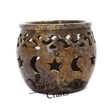 Stone Tealight Votive Candle Holder Moon & Star Pattern For Home Decor
