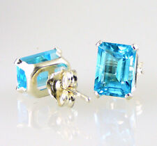 Swiss Blue Topaz Emerald Cut Stud Earrings .925 SS Silver 2.40 CTW