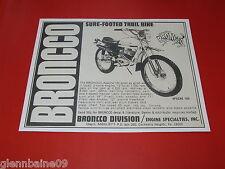 "Wow! Vintage & Rare Broncco Apache Minibike Ad 8 1/2"" X 11"" Reproducton"