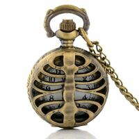 Antique Bronze Rib Hollow Pocket Mens Watch Retro Quartz Chain Necklace Pendant