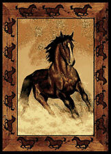 "Country Black Stallion Carpet 5x8 Horses Cowboy Area Rug : Actual 5' 3"" x 7' 2"""
