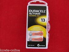 6x 13 Duracell orange, Hörgeräte Batterie, Zink-Luft,