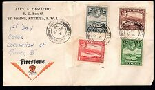 ANTIGUA 1938 KING GEORGE VI ISSUES ON FDC WITH FIRESTONE TIRES ADVERTISING