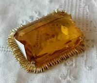 Vintage Citrine Glass 50s 60s Faceted Large Gold Tone Amber Yellow Jewel Brooch