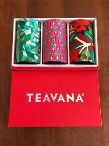 Teavana Holiday set of 3 Empty Round Tea Tins 3oz NIB