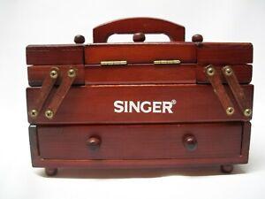 Vintage Singer Wooden Accordion Sewing Box