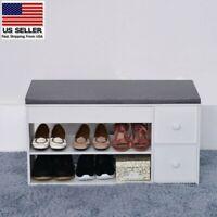 Shoe Bench Rack Organizer Entryway Hallway 2-Tier Wooden Cushion Storage Shelf A