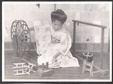 VINTAGE 1920'S TOKYO JAPAN GIRL SPINNING SILK YARN USING WOODEN WHEEL OLD PHOTO