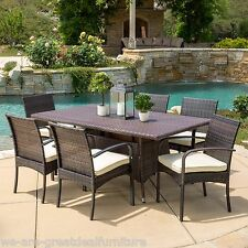 (7-Piece) Outdoor Patio Furniture Multibrown Wicker Long Dining Set w/ Cushions