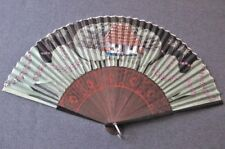 ANTIQUE HAND PAINTED FLOWERS TRIM BAMBOO FIGURAL SCENE SILK HAND FAN
