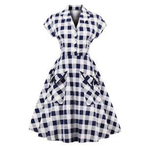 Damen Rockabilly Midi Freizeit Kleid Hepburn Petticoat Vintage Party Skaterkleid
