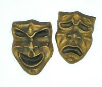 Heavy Solid Brass Theater Drama Comedy & Tragedy Masks Wall Hangings Decor EUC
