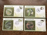 GB BENHAM 2001 FDC Set Of 4 PONDLIFE,Mint Condition