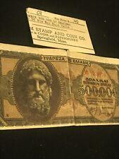 "Greece 500,000.00  Drachma 1944 ""Tatham Stamp Co."" Springfield, Mass Bill No.C4"