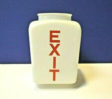 """Frosted 3.25"""" Fitter Glass Exit Jar Red Vertical Letters 86066 NEW Replacement"""