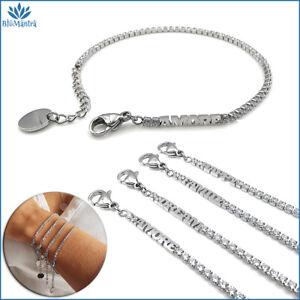 Bracciale da donna tennis scritta amore family in acciaio braccialetto regalo a