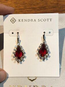 NEW w/ Pouch Kendra Scott Juniper Drop Earrings in Red Berry Glass $75