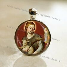 St. Agnes Catholic Medal Pendant / Charm Cabochon with Glass Dome