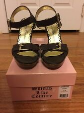 JUICY Couture Brown Leather Buckle Wedge Sandal Shoes Size 8M