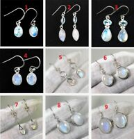 Natural  Moonstone Drop Dangle Jewelry 925 Sterling Silver Earring ME3184