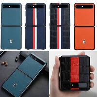 Leder Case Für Samsung Galaxy Z Flip Hülle Schutz Tasche Back Protective Cover