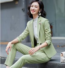Women's Classic Lapel Formal One Button 2 Pcs/set Straight Trousers Suits Jacket