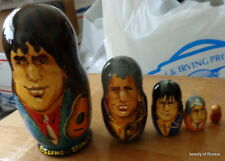 Wood hand painted Russian nesting dolls 5 pcs the Rolling stones 4.7*inches