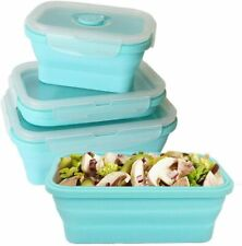 BPA Free Silicone Food Storage Containers with Airtight Plastic Lids Set Of 3