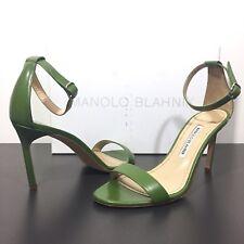 MANOLO BLAHNIK Chaos Ankle Strap Stiletto Heels Sandals Green 37.5 (MSRP $725)