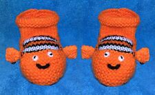 KNITTING PATTERN - Finding Nemo Fish inspired booties fit 0 - 6 month old Baby
