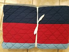 Pottery Barn Kids Block Stripe Quilt Full Queen Navy Red #3665