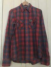 Camisa de hombre cuadros en rojo y azul de camisa de mangas largas M 100% algodón