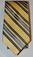CHAPS Yellow Navy Light Blue Diagonal Striped 100% Silk Hand Made Neck Tie