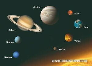 3D postcard – Planets of our solar system (German) – Celestial bodys outer space
