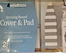 Whitmor Ironing Board Cover And Pad Khaki White Stripe 100% Cotton Nip