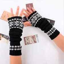 Winter Warmer Woman Arm Hand Mitten Long Knitted Fingerless Snowflake Gloves