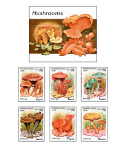 AFG9801 Mushrooms block and 6 stamps