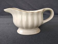 Vintage Alco Industries Large White Gravy Boat Trimmed in Gold