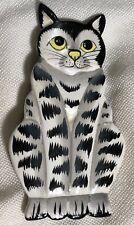 Wood Cat Pin Brooch Bali Jewelry Black & White