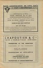 ADVERT Vineyard Wine Cotes du Rhone Chapoutier Hermitage Chateauneuf du Pape