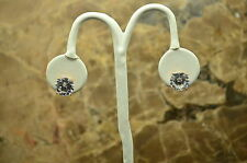 925 STERLING SILVER ROSE TONE LARGE ROUND WHITE CZ STUD POST EARRINGS #B2769